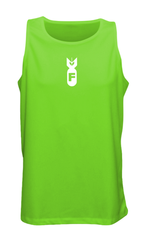 Men's Reflective Tank Top - F Bomb - Front - Neon Green