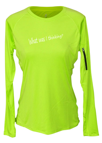 WOMEN'S REFLECTIVE LONG SLEEVE CREW NECK – GOOD IDEA – Front - Lime Yellow