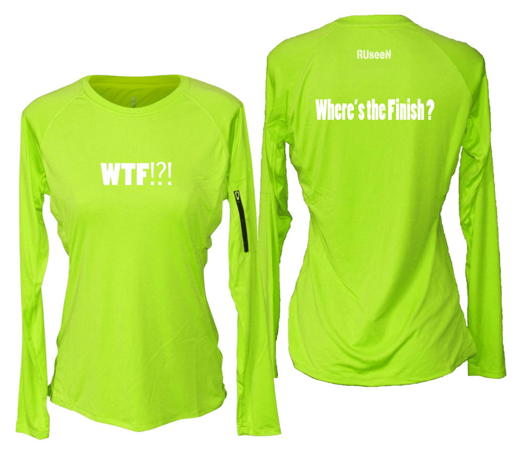 WOMEN'S REFLECTIVE LONG SLEEVE CREW NECK – WHERE'S THE FINISH – Front & Back – Lime Yellow