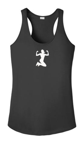 Women's Reflective Tank Top - Strong AF - Front - Black
