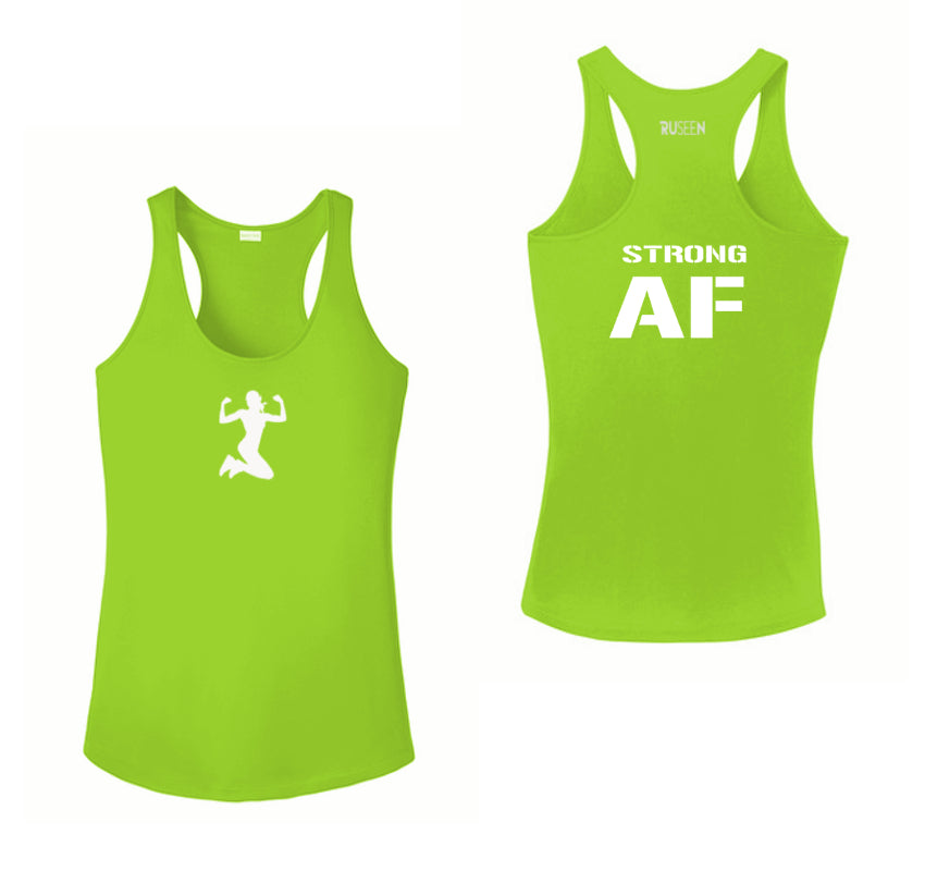 Women's Reflective Tank Top - Strong AF - Front & Back - Lime Green