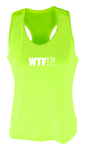 WOMEN'S REFLECTIVE TANK TOP SHIRT –  WHERE'S THE FINISH? - Front - Lime Yellow