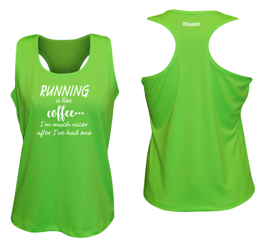WOMEN'S REFLECTIVE TANK TOP – RUNNING IS LIKE COFFEE – Front & Back – Neon Green