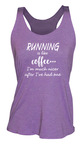 WOMEN'S REFLECTIVE TANK TOP – RUNNING IS LIKE COFFEE – Front - Purple