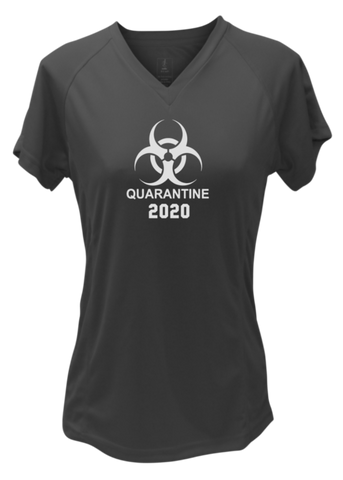 Women's Reflective Short Sleeve Shirt - Quarantine 2020 - Black front