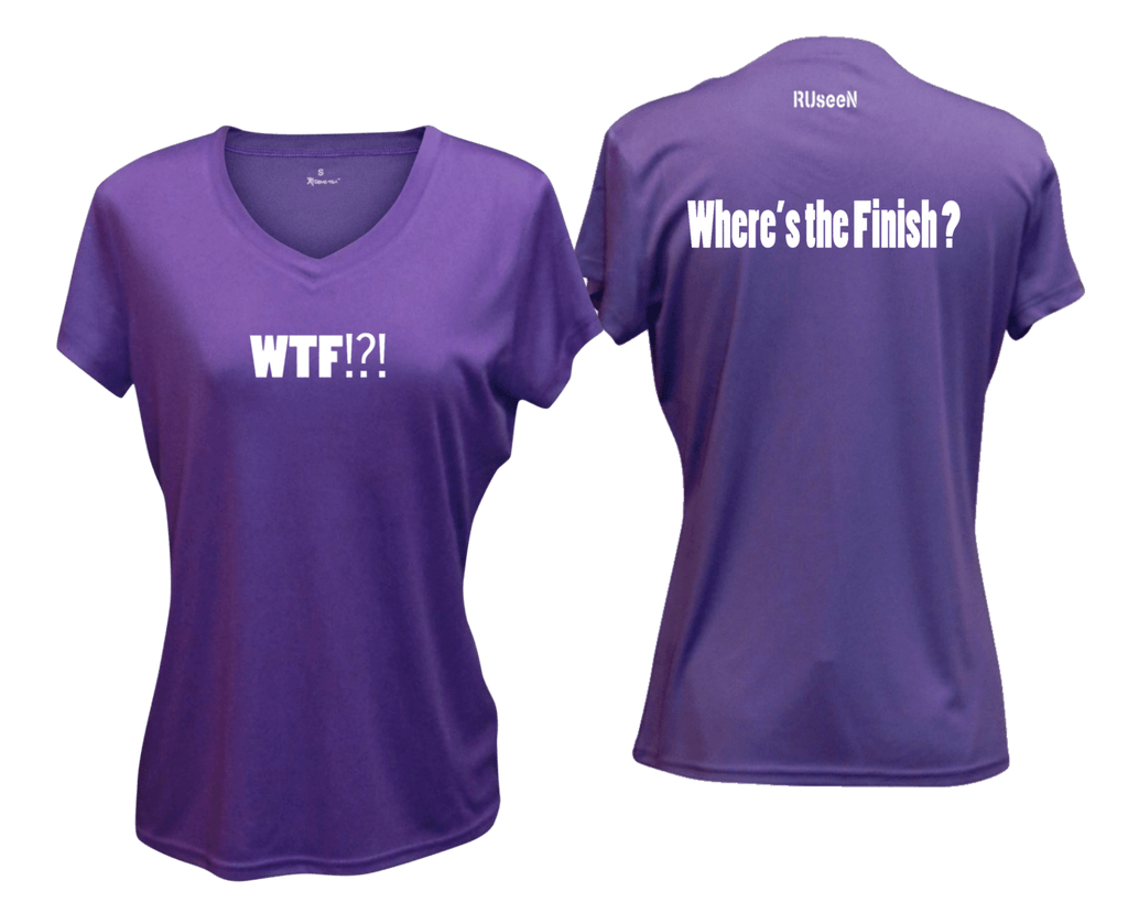WOMEN'S REFLECTIVE SHORT SLEEVE SHIRT –  WHERE'S THE FINISH? - Front & Back –  Dark Purple