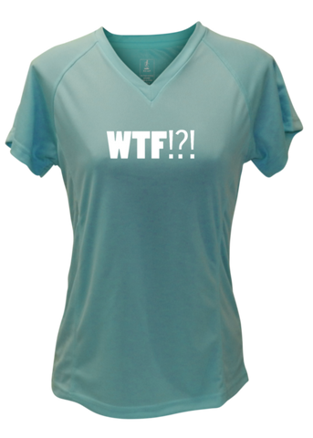 WOMEN'S REFLECTIVE SHORT SLEEVE SHIRT –  WHERE'S THE FINISH? - Front - Sea Green