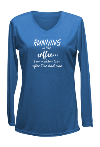 WOMEN'S REFLECTIVE LONG SLEEVE SHIRT – RUNNING IS LIKE COFFEE – Front – Electric Blue