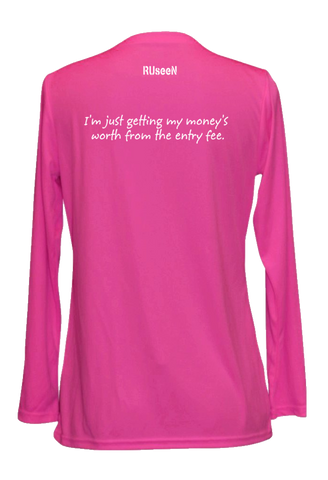 WOMEN'S REFLECTIVE LONG SLEEVE V-NECK – GETTING MY MONEY'S WORTH – Back – Neon Pink