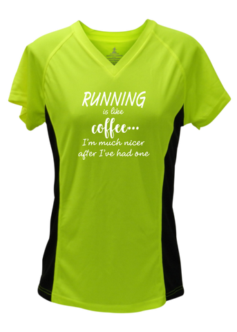 WOMEN'S REFLECTIVE SHORT SLEEVE SHIRT – RUNNING IS LIKE COFFEE – Front - Lime with Black Sides