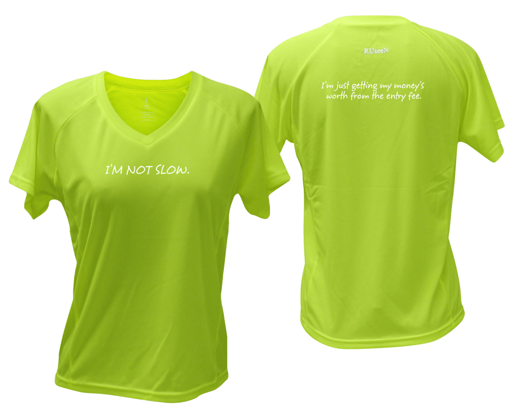 WOMEN'S REFLECTIVE SHORT SLEEVE – GETTING MY MONEY'S WORTH – Front & Back – Lime Yellow