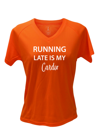 WOMEN'S REFLECTIVE SHORT SLEEVE SHIRT –  RUNNING LATE IS MY CARDIO - Front - Orange