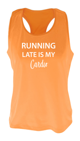 WOMEN'S REFLECTIVE TANK TOP SHIRT –  RUNNING LATE IS MY CARDIO - Front - Orange