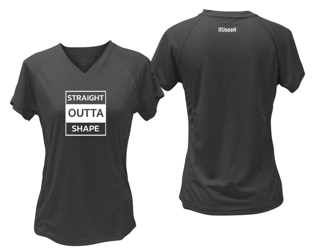 WOMEN'S REFLECTIVE SHORT SLEEVE SHIRT –  STRAIGHT OUTTA SHAPE - Front & Back – Black