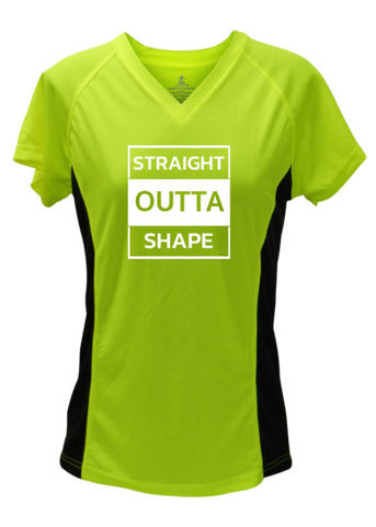WOMEN'S REFLECTIVE SHORT SLEEVE SHIRT –  STRAIGHT OUTTA SHAPE - Front - Lime with Black Sides