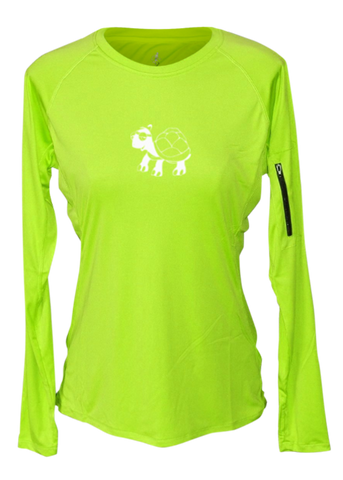 WOMEN'S REFLECTIVE LONG SLEEVE CREW NECK – LOOKS LIKE WALKING – Front - Lime Yellow
