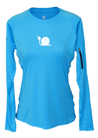 WOMEN'S REFLECTIVE LONG SLEEVE CREW NECK – DIDN'T TRAIN – Front - Bright Blue