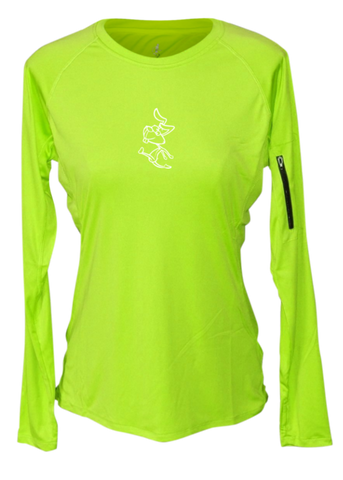WOMEN'S REFLECTIVE LONG SLEEVE CREW NECK – 2 SPEEDS RABBIT – Front - Lime Yellow