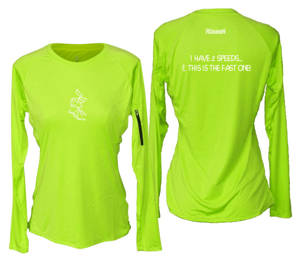 WOMEN'S REFLECTIVE LONG SLEEVE CREW NECK – 2 SPEEDS RABBIT – Front & Back – Lime Yellow