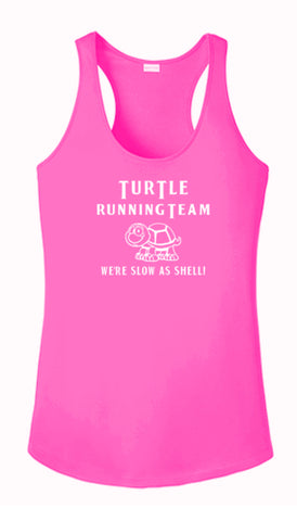 Women's Reflective Tank Top - Turtle Running Team - Neon Pink Front