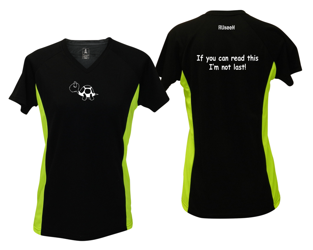 WOMEN'S REFLECTIVE SHORT SLEEVE SHIRT –  I'M NOT LAST - Front & Back – Black & Lime
