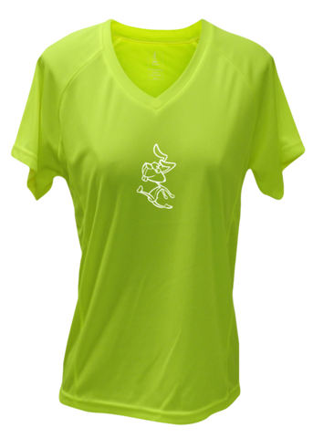 WOMEN'S REFLECTIVE SHORT SLEEVE SHIRT –  2 SPEEDS RABBIT - Front - Lime Yellow