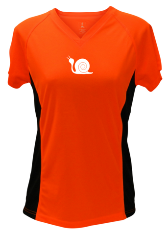 WOMEN'S REFLECTIVE SHORT SLEEVE SHIRT - DIDN'T TRAIN - Front - Orange with Black Sides