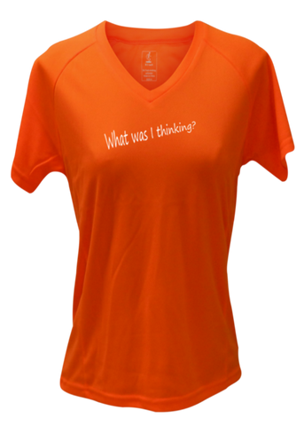 WOMEN'S REFLECTIVE SHORT SLEEVE SHIRT - GOOD IDEA - Front & Back - Orange