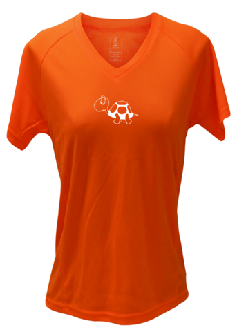 WOMEN'S REFLECTIVE SHORT SLEEVE SHIRT –  I'M NOT LAST - Front & Back – Orange