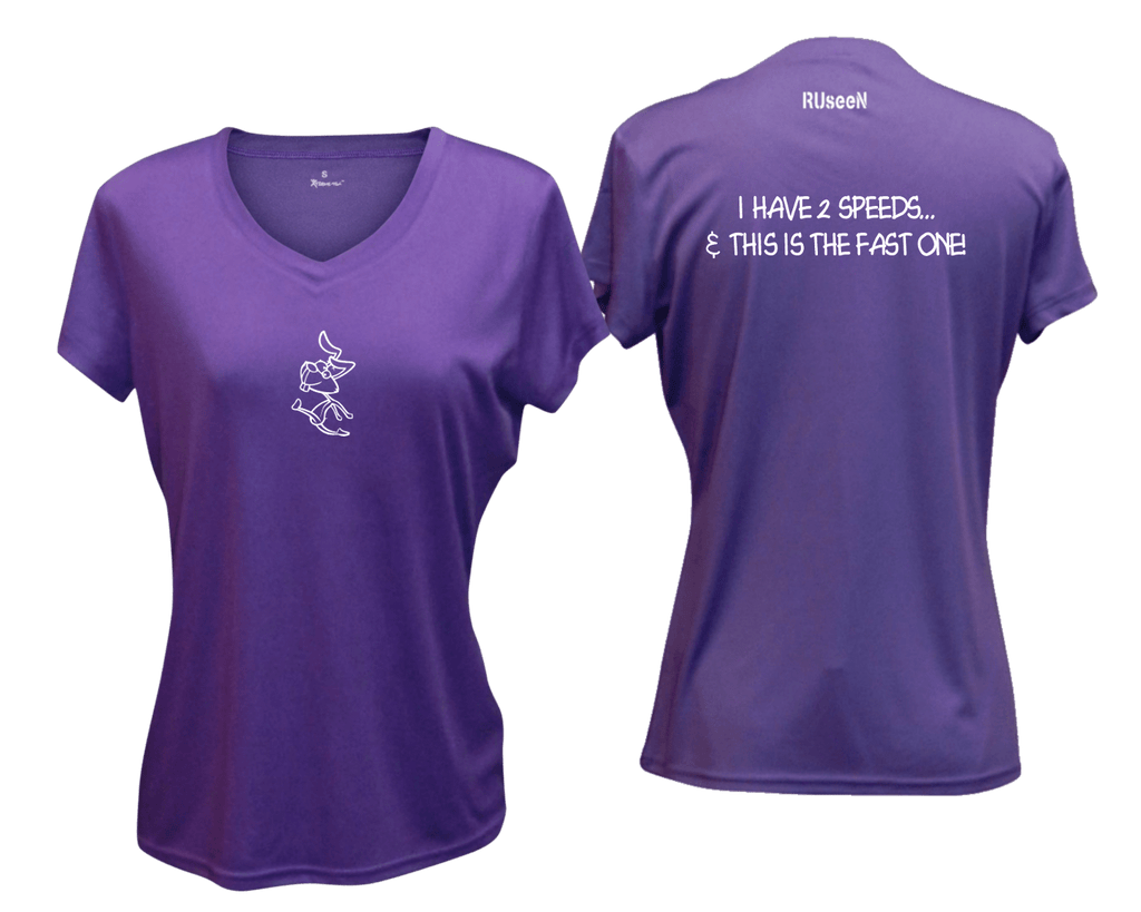 WOMEN'S REFLECTIVE SHORT SLEEVE SHIRT –  2 SPEEDS RABBIT - Front & Back – Dark Purple