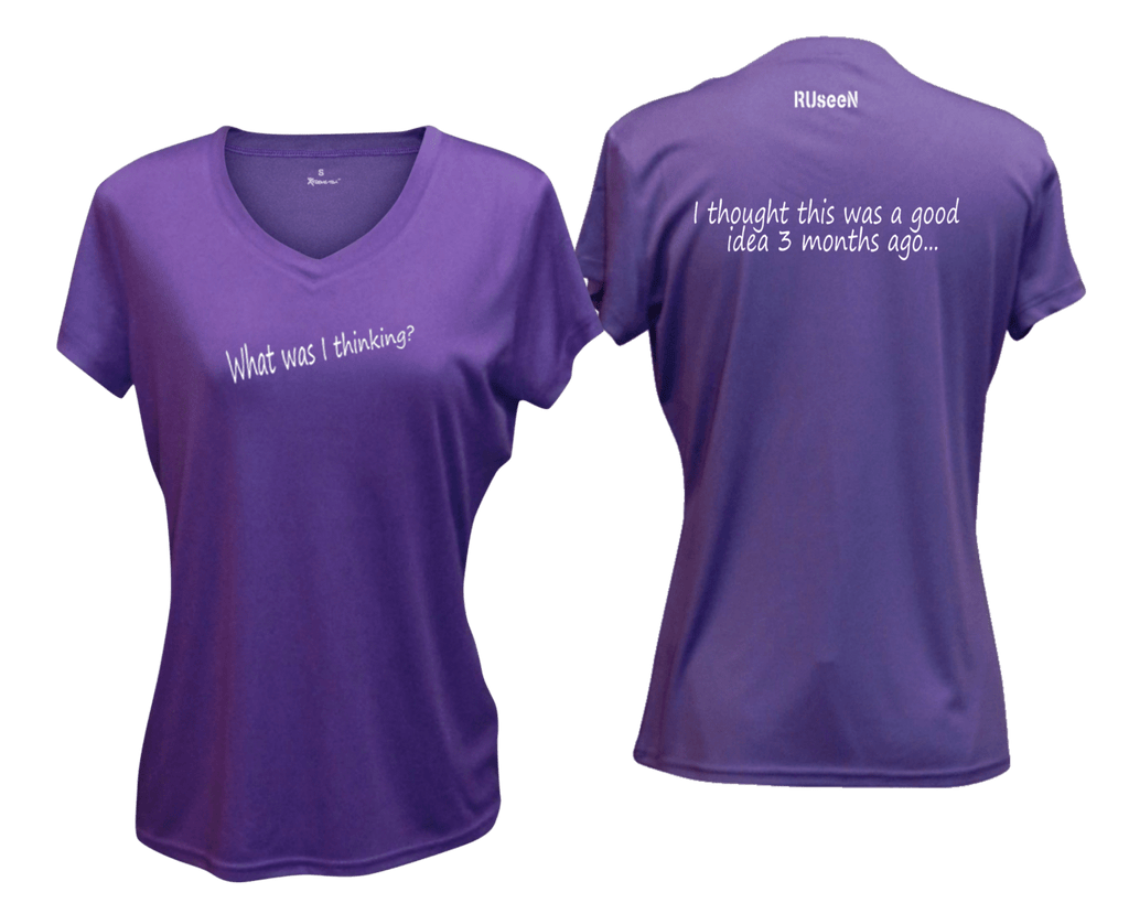 WOMEN'S REFLECTIVE SHORT SLEEVE SHIRT - GOOD IDEA - Front & Back - Dark Purple