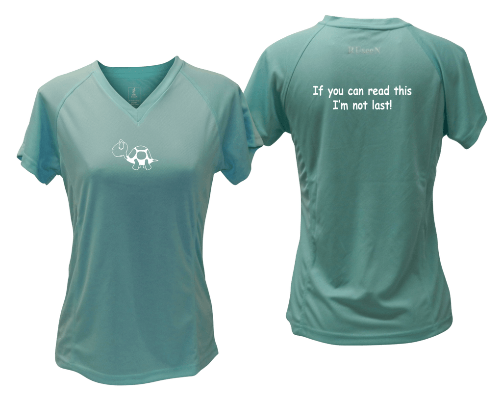 WOMEN'S REFLECTIVE SHORT SLEEVE SHIRT –  I'M NOT LAST - Front & Back – Sea Green