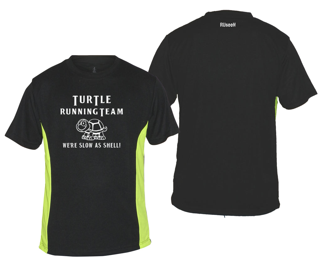 Men's Reflective Short Sleeve Shirt - TURTLE RUNNING TEAM - Front & Back - Black with Lime Sides