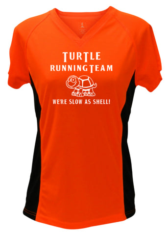 WOMEN'S REFLECTIVE SHORT SLEEVE SHIRT - TURTLE RUNNING TEAM - Front - Orange with Black Sides