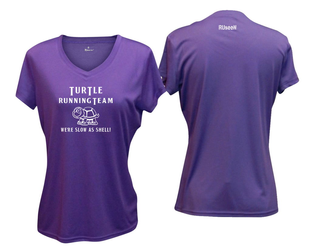 WOMEN'S REFLECTIVE SHORT SLEEVE SHIRT - TURTLE RUNNING TEAM - Front & Back - Purple