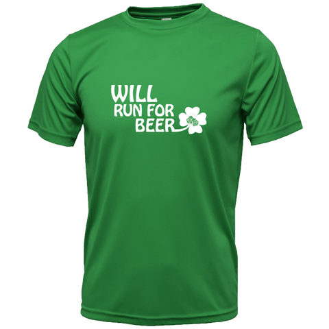 MENS REFLECTIVE SHORT SLEEVE SHIRT -  WILL RUN FOR BEER SHAMROCK - Front – Kelly Green