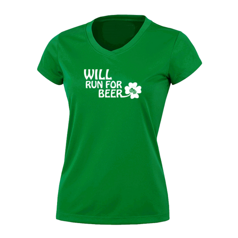 WOMENS REFLECTIVE SHORT SLEEVE SHIRT -  WILL RUN FOR BEER SHAMROCK - Front – Kelly Green