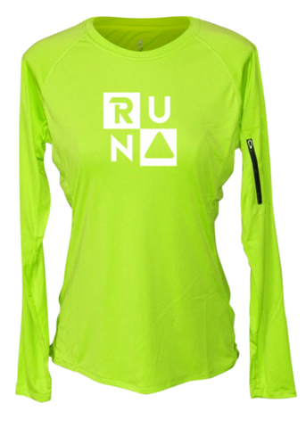WOMEN'S REFLECTIVE LONG SLEEVE CREW NECK – RUN SQUARED – Front - Lime Yellow