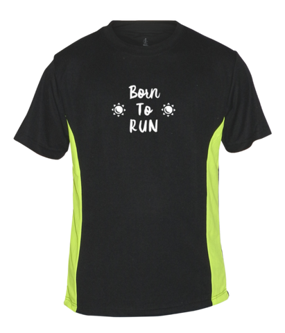 MEN'S REFLECTIVE SHORT SLEEVE SHIRT – BORN TO RUN - Front - Black & Lime