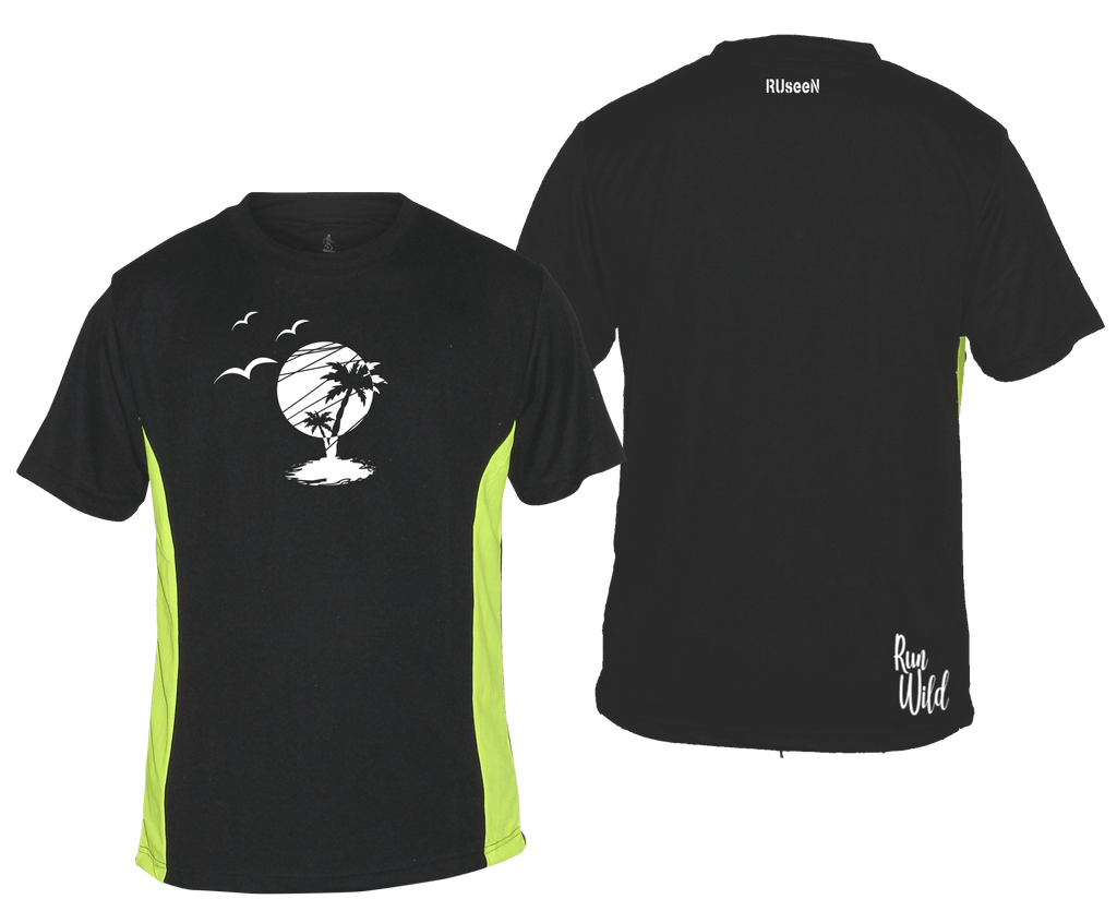 MEN'S REFLECTIVE SHORT SLEEVE – PARADISE – Front & Back – Black & Lime
