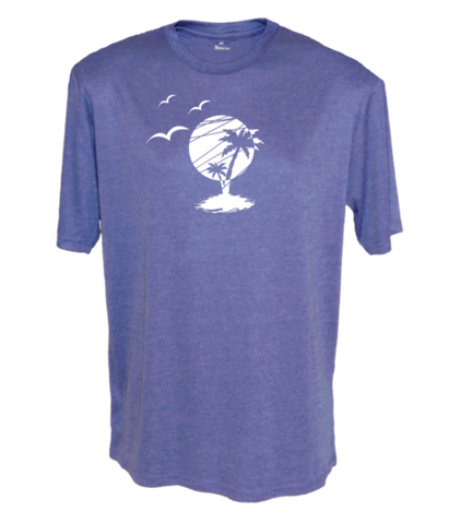 MEN'S REFLECTIVE SHORT SLEEVE – PARADISE – Front - Royal Heather