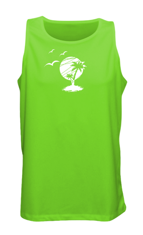 MEN'S REFLECTIVE TANK TOP SHIRT –  PARADISE - Front - Neon Green