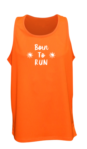 MEN'S REFLECTIVE TANK TOP – BORN TO RUN - Front - Orange