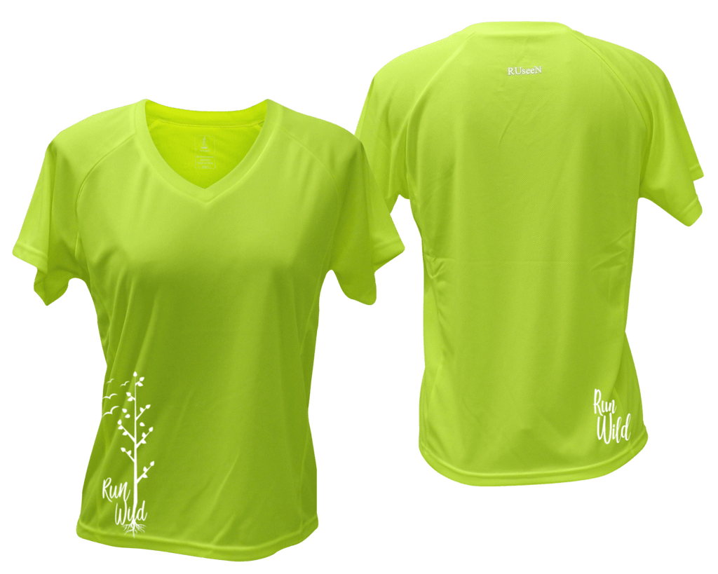 WOMEN'S REFLECTIVE SHORT SLEEVE – RUN WILD – Front & Back – Lime Yellow