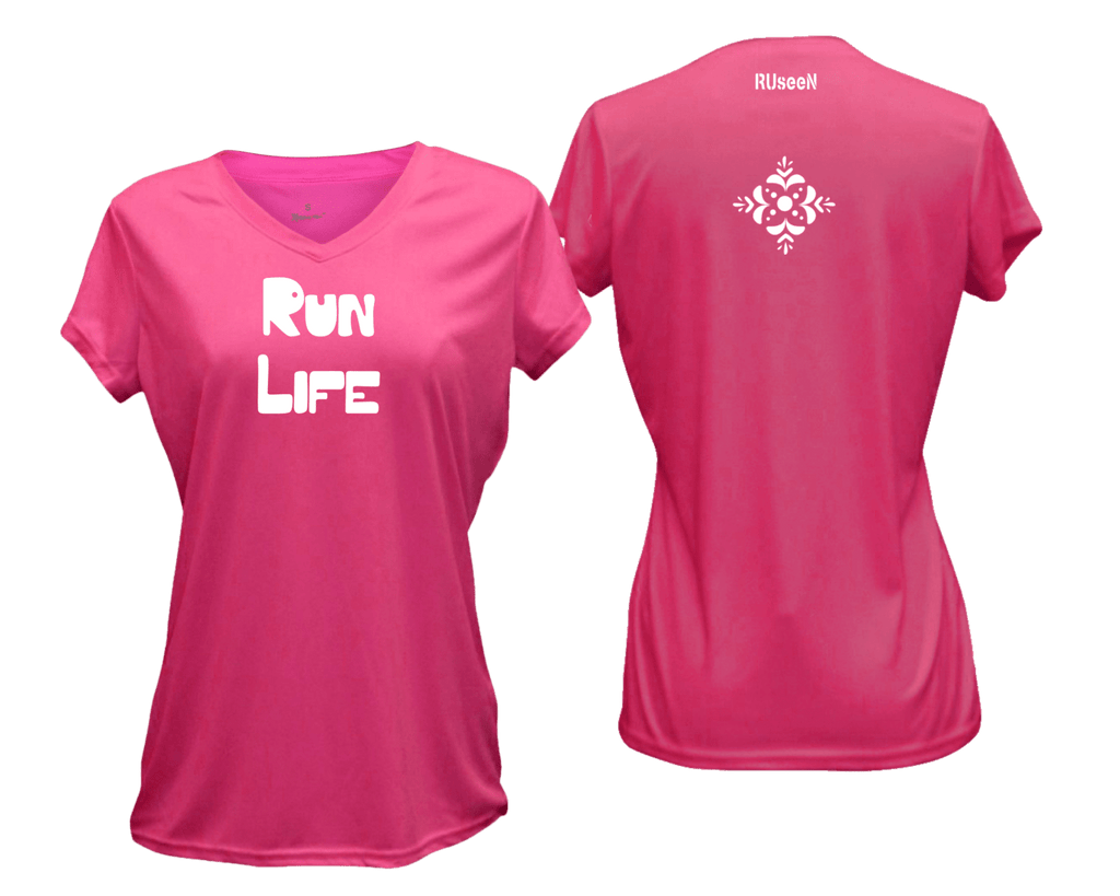 WOMEN'S REFLECTIVE SHORT SLEEVE– RUN LIFE - Front & Back – Neon Pink