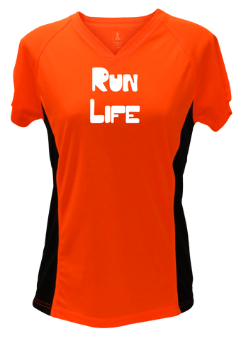 WOMEN'S REFLECTIVE SHORT SLEEVE– RUN LIFE - Front - Orange with Black Sides