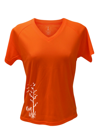 WOMEN'S REFLECTIVE SHORT SLEEVE – RUN WILD – Front - Orange