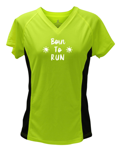 WOMEN'S REFLECTIVE SHORT SLEEVE SHIRT – BORN TO RUN - Front - Lime with Black Sides