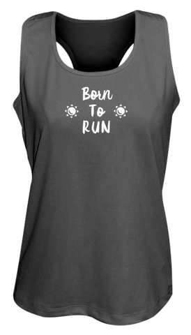 WOMEN'S REFLECTIVE TANK TOP – BORN TO RUN - Front - Black