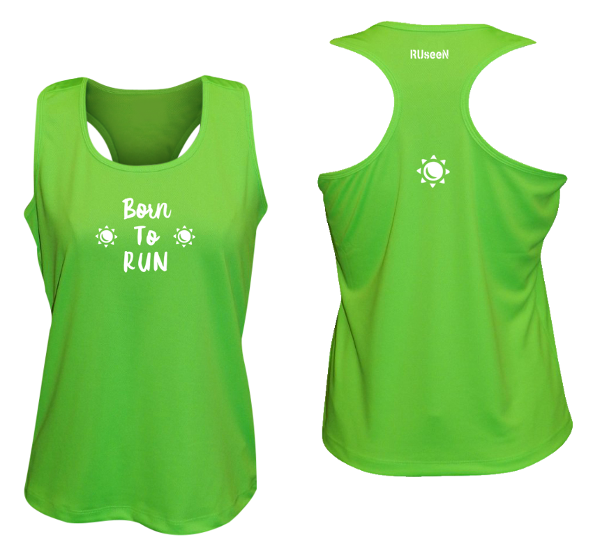 WOMEN'S REFLECTIVE TANK TOP – BORN TO RUN - Front & Back – Neon Green